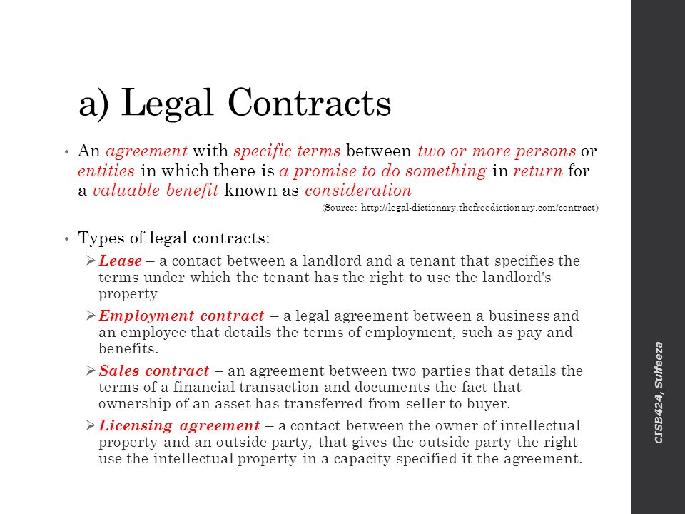 A) Legal Contracts  Legal Agreements Between Two Parties