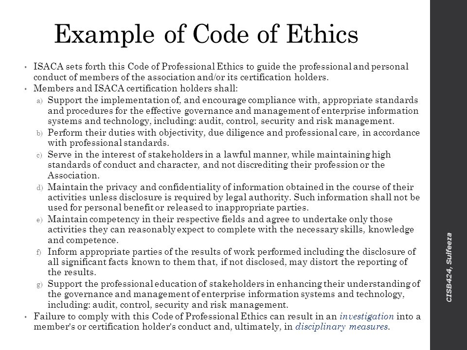Ethical Code Of Conduct Example - Ex