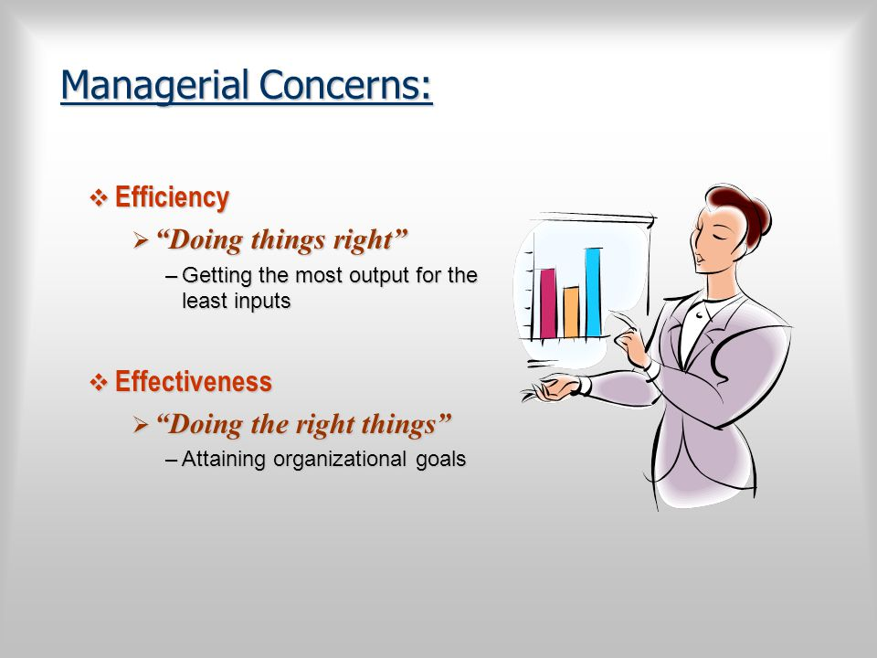 Managerial Concerns: Efficiency Doing things right Effectiveness