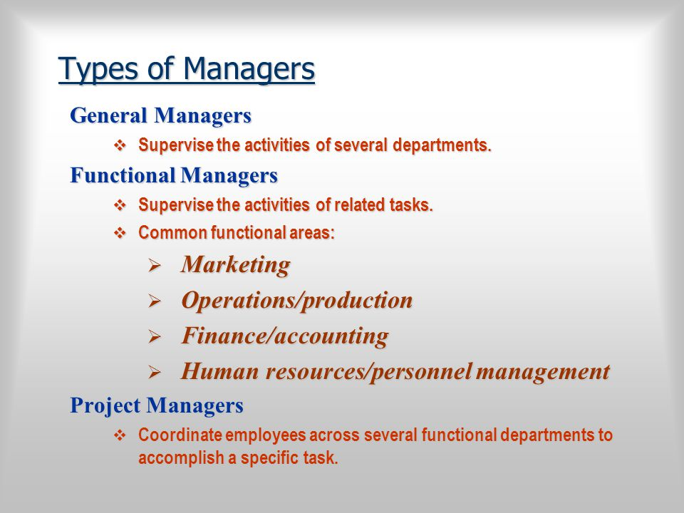 Types of Managers Marketing Operations/production Finance/accounting