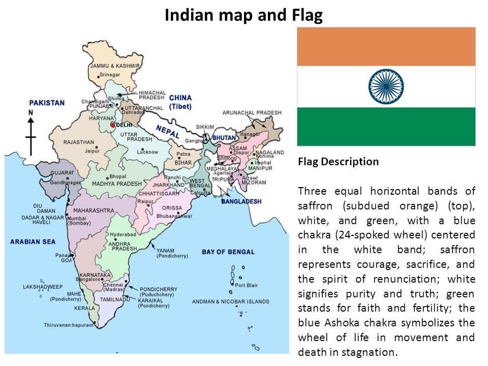 India Flag Map: 8 Indian Subcontinent.