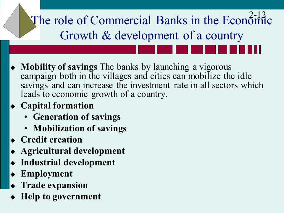 the role of banks in economic Economic growth is essential if russia is to provide her citizens with higher   financial system, in which banks will play a crucial role in russian economic.