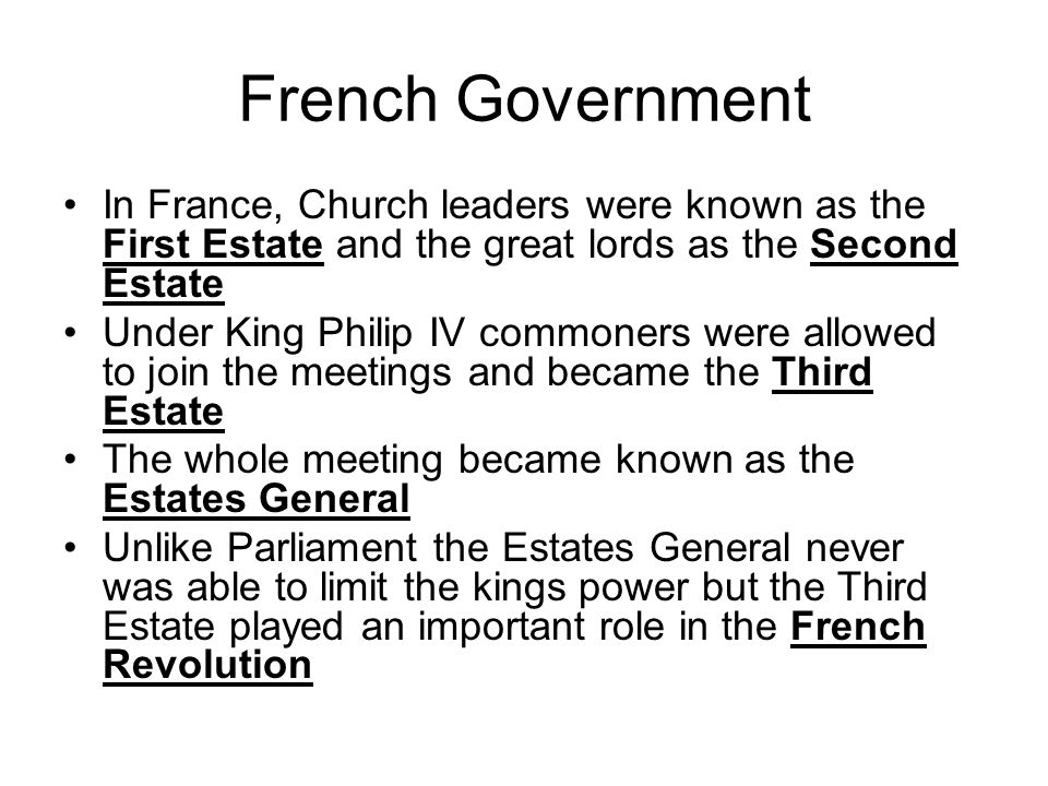 comparison parliament and estates general Parliament vs general estate - i t was the government for them that they called parliament - p arliament made all the decision making in the english.