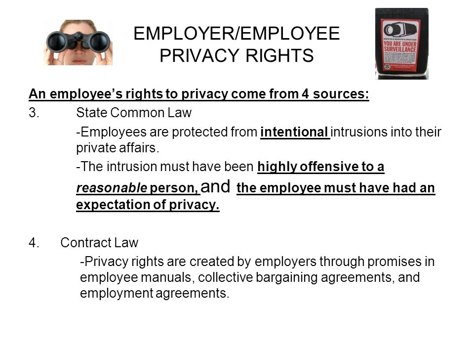 an analysis of the employee privacy rights in the electronic communications privacy act ecpa Electronic privacy rights:  only the electronic communications privacy act of 1986  federal and state laws provide some protection to employee communications.