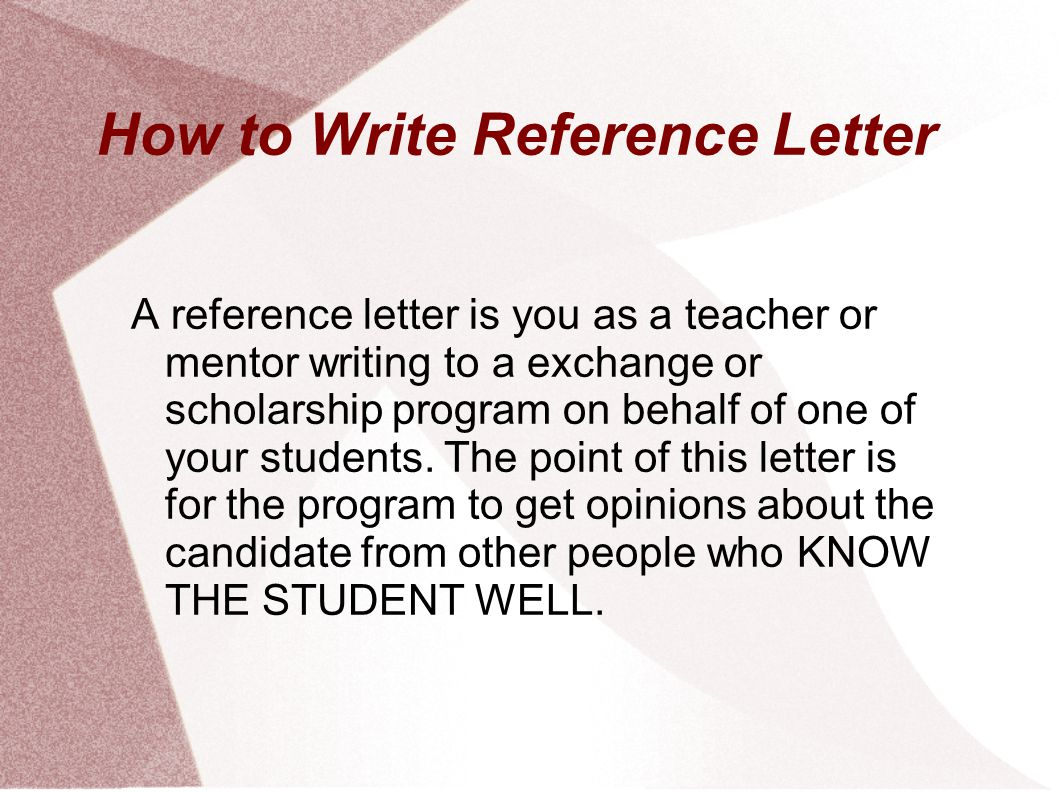 Reference Letter For Student Scholarship