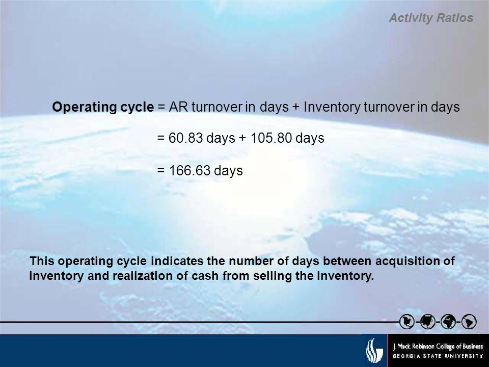 Operating cycle = AR turnover in days + Inventory turnover in days