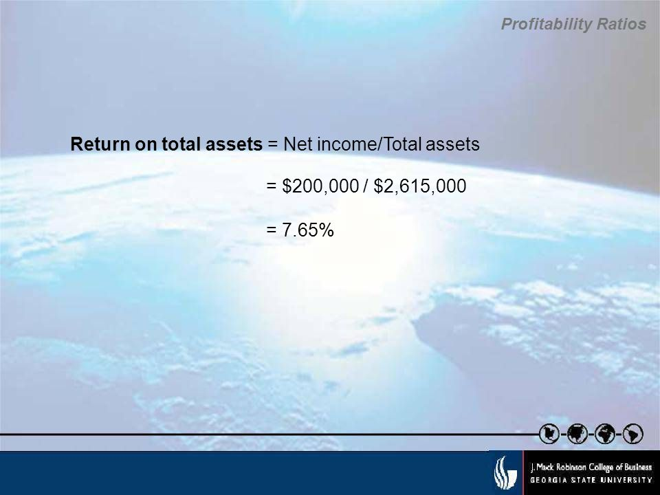 Return on total assets = Net income/Total assets