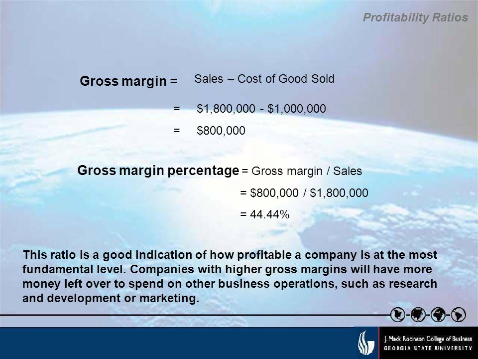 Gross margin percentage = Gross margin / Sales