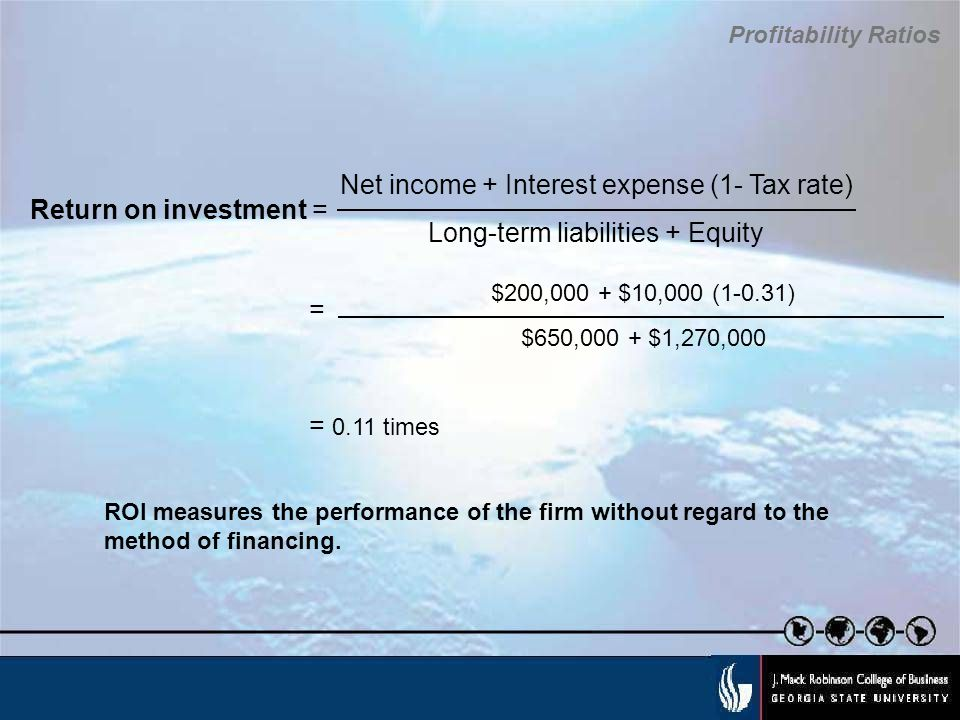 Net income + Interest expense (1- Tax rate)