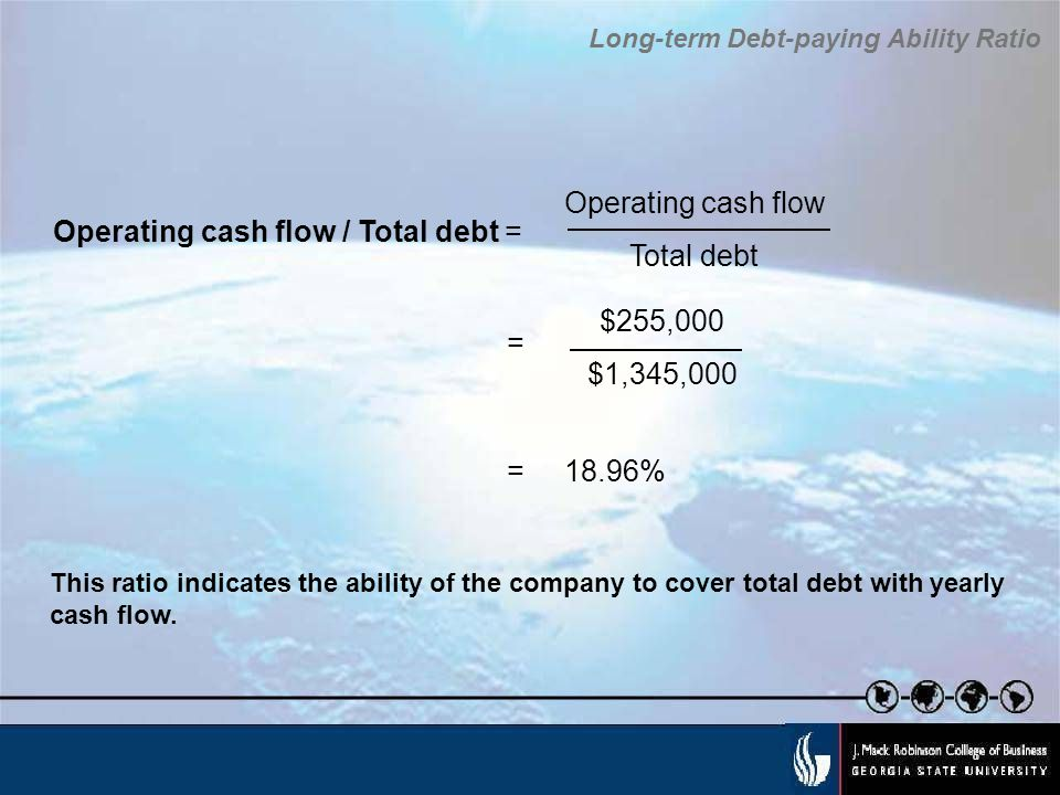 Operating cash flow / Total debt =