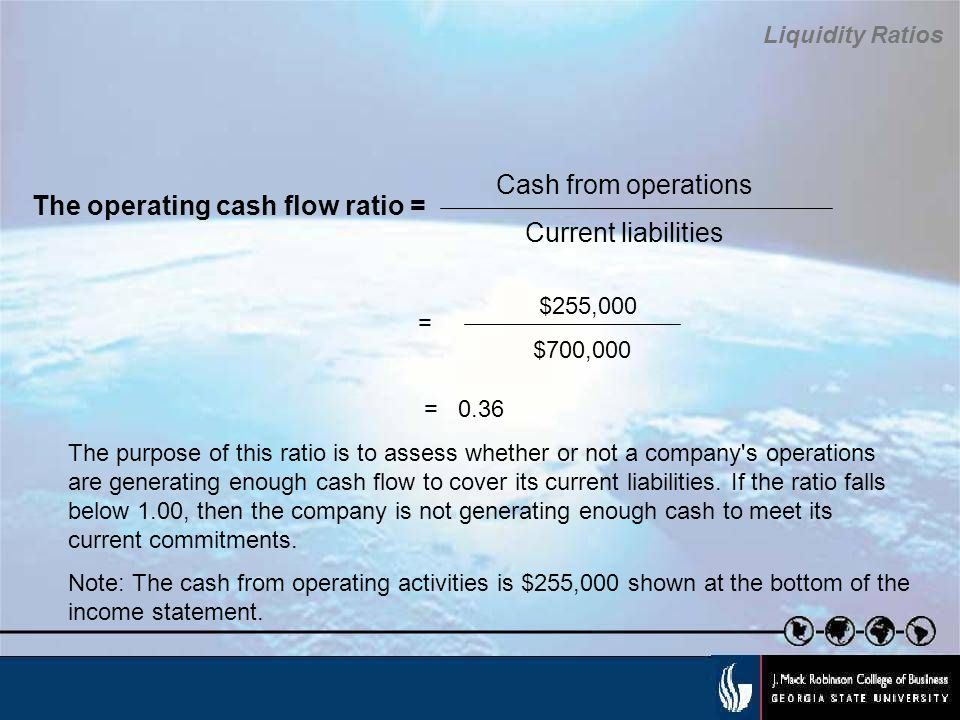 The operating cash flow ratio =