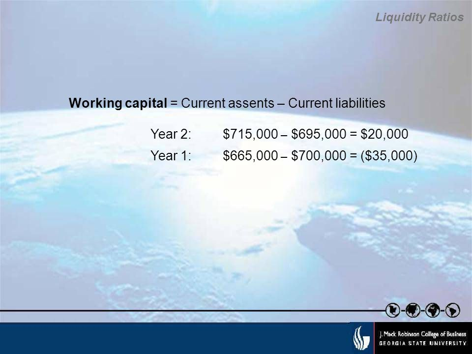 Working capital = Current assents – Current liabilities