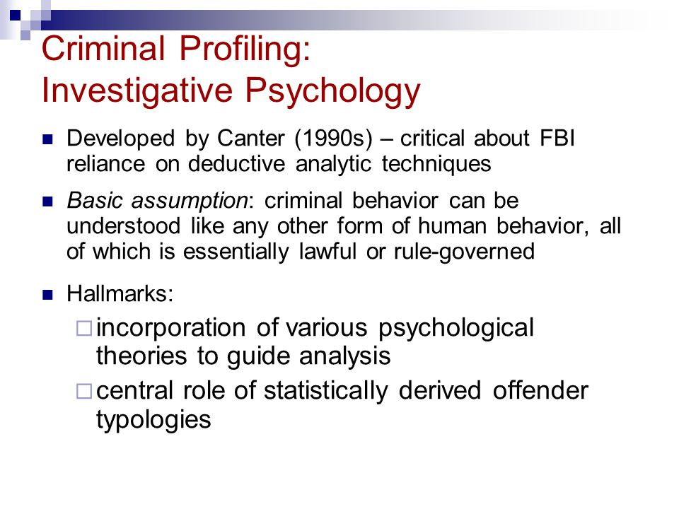 an analysis of psychological profiling of computer crime - analysis of evidence gathered from crime(s) - single offender based on material from one psychological profiling, 5 types 1 psychological profiling 2 suspect-based profiling 3 geographical profiling 4 crime scene profiling 5 equvocal computer models of typical spatial behaviroal.