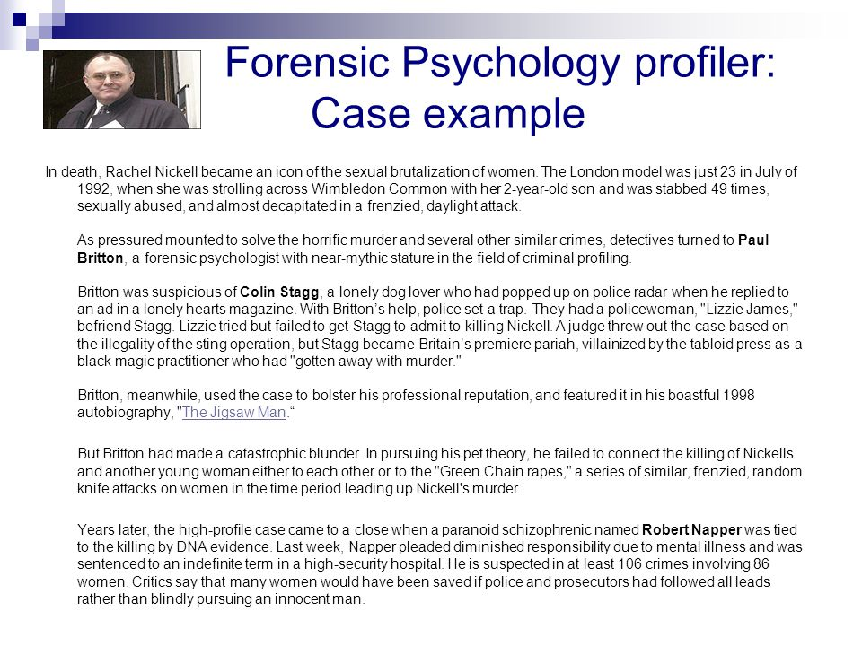simon fraser university psyc professor ronald roesch ppt  forensic psychology profiler ca case example