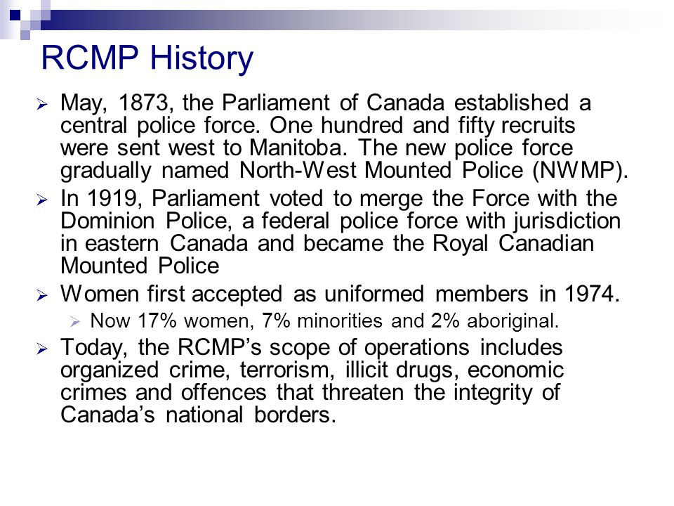 an analysis of the computer crime offences in canada and the royal canadian mounted police Under the canadian constitution, the power to establish criminal law and rules of investigation and trying crimes is vested in the federal government the provinces are responsible for law enforcement (although provincial policing in many jurisdictions is contracted to the federal and national royal canadian mounted police), and while the power to prosecute offences belongs to the federal.