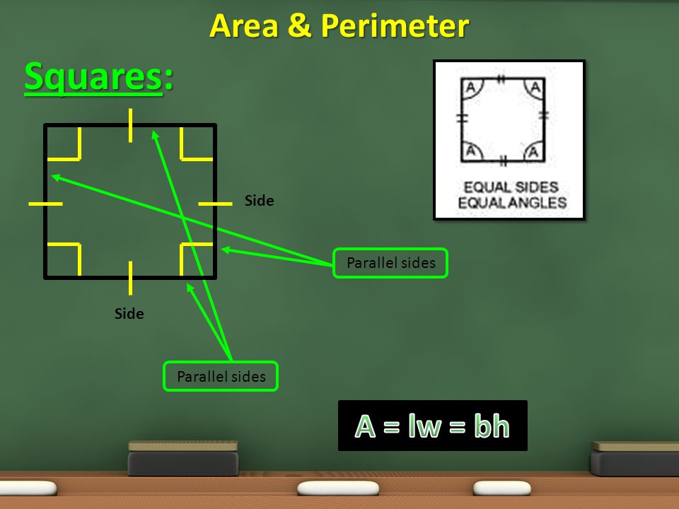 Squares: Area & Perimeter A = lw = bh Side Parallel sides Side