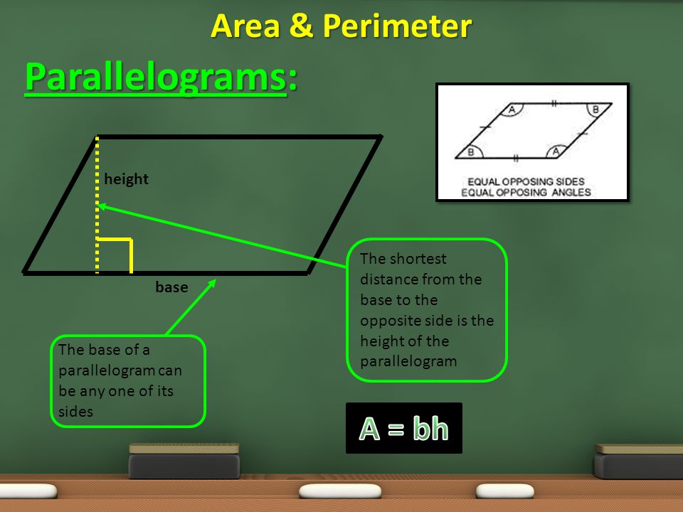 Parallelograms: Area & Perimeter A = bh height