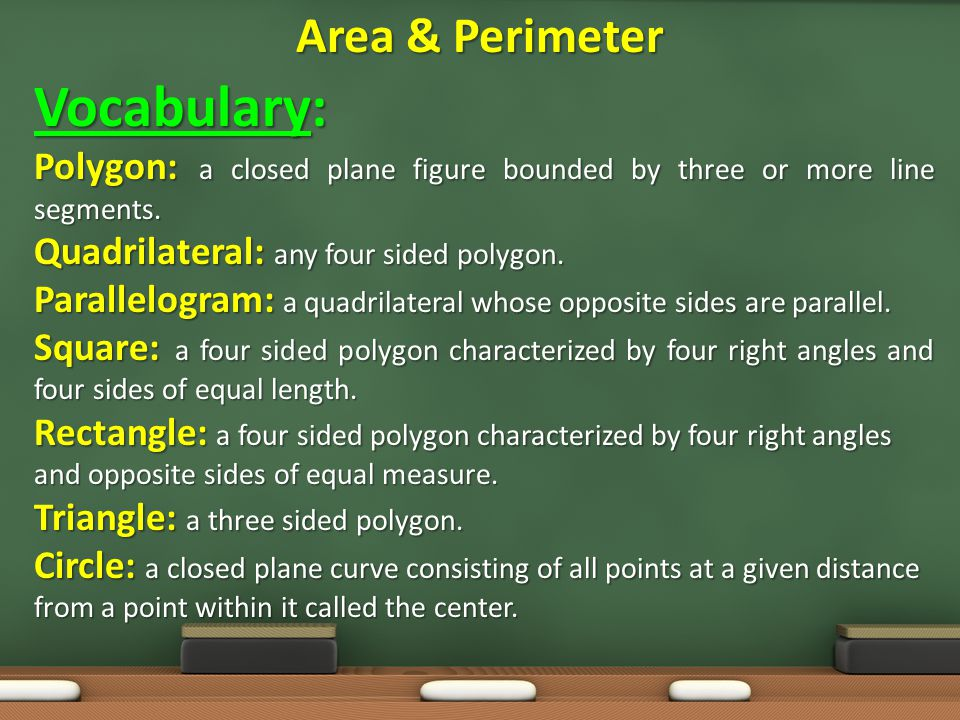 Vocabulary: Area & Perimeter