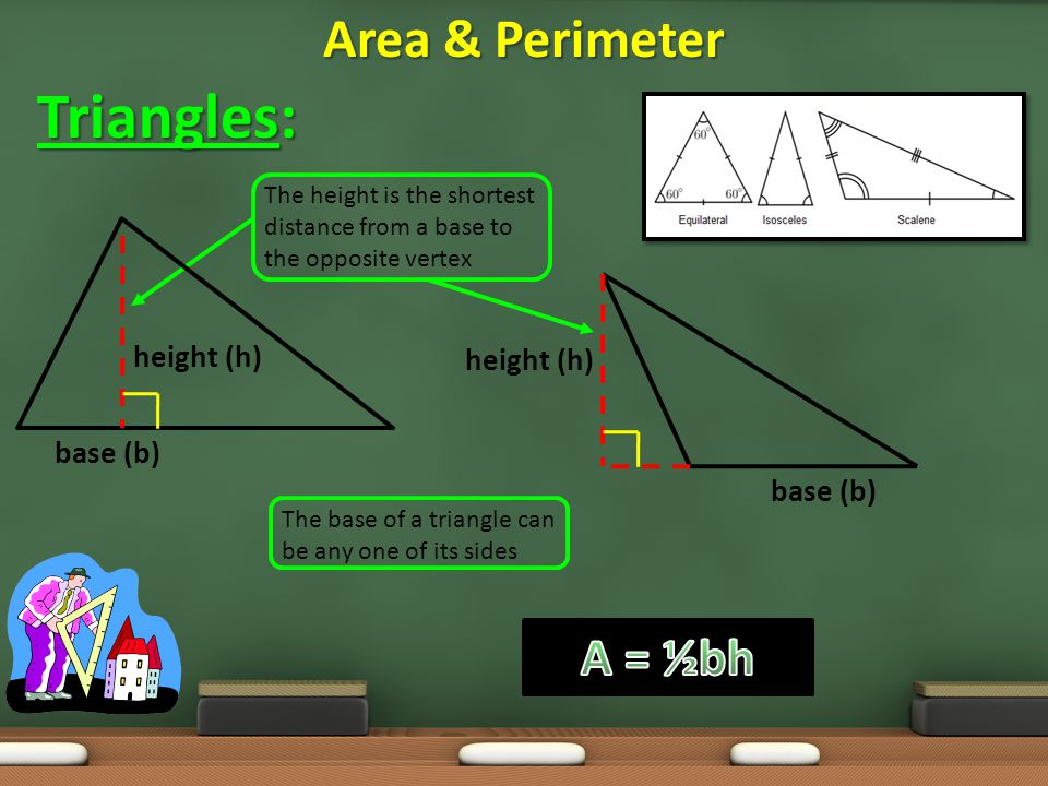 Triangles: Area & Perimeter A = ½bh height (h) height (h) base (b)