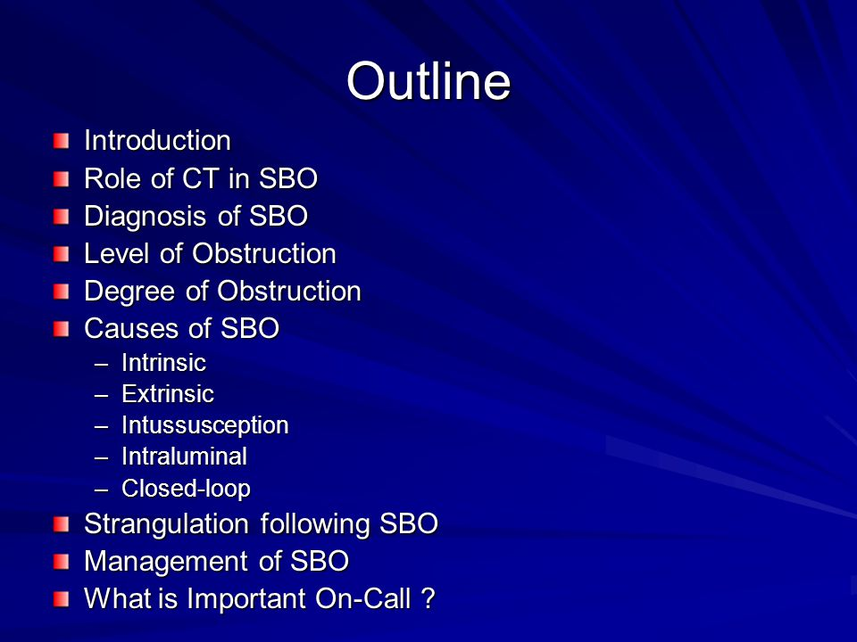 Outline Introduction Role of CT in SBO Diagnosis of SBO