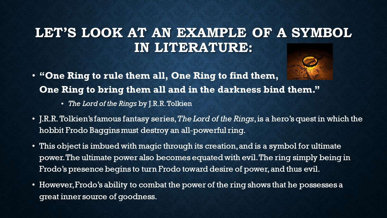 symbolism and motifs devices of the day ppt  let s look at an example of a symbol in literature