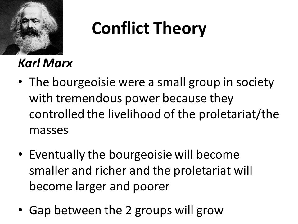 karl marxs conflict theory Marx's theory of social class and class structure  the contradictory relationship has class conflict built into it, and leads to periodic bursts of.