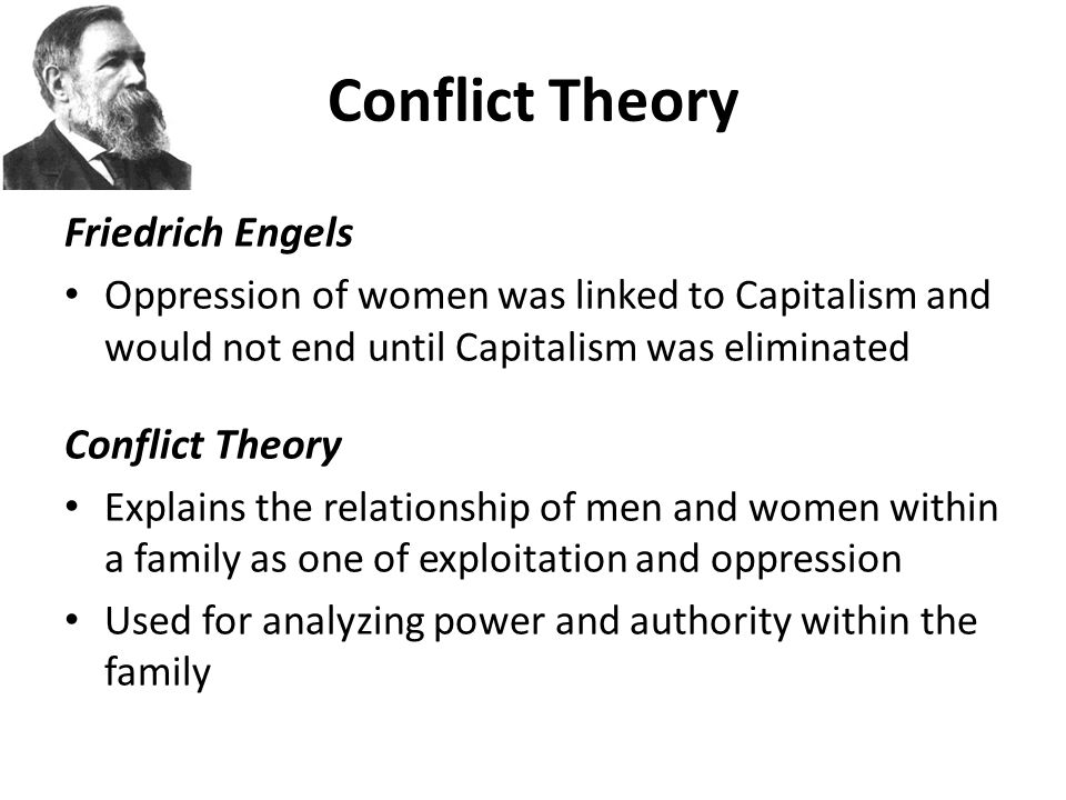conflict theories We explain gender conflict theory with video tutorials and quizzes, using our many ways(tm) approach from multiple teachers this lesson will explain, define and discuss the key ideas and basic components of gender conflict theory, as well as the major contributions of gender conflict theorists harriet martineau and jane addams.