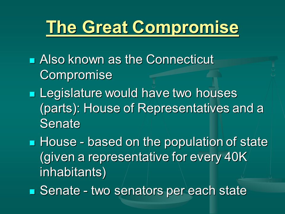 The Great Compromise Also known as the Connecticut Compromise