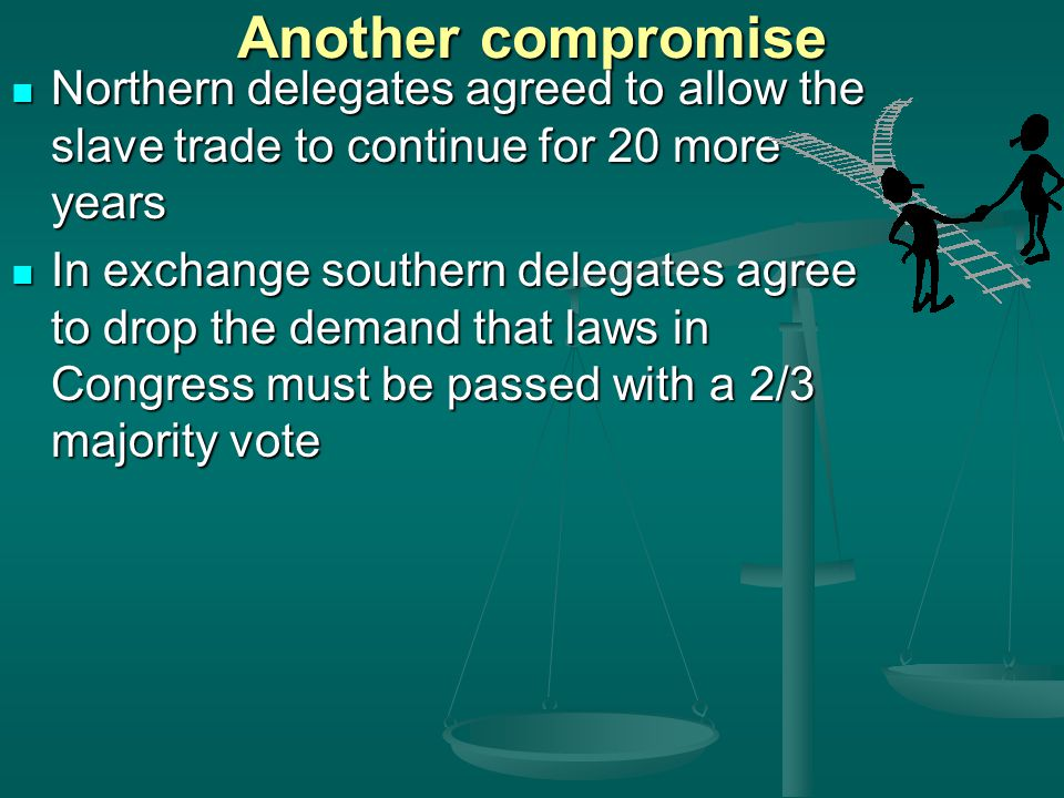 Another compromise Northern delegates agreed to allow the slave trade to continue for 20 more years.