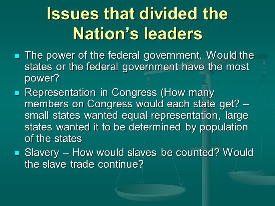Issues that divided the Nation's leaders