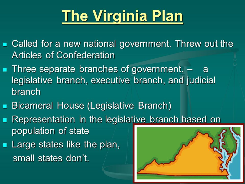The Virginia Plan Called for a new national government. Threw out the Articles of Confederation.