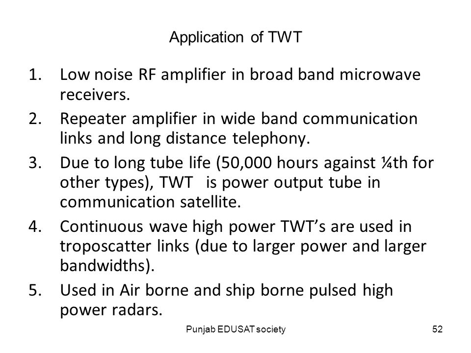 Low Noise Rf Amplifier In Broad Band Microwave Receivers