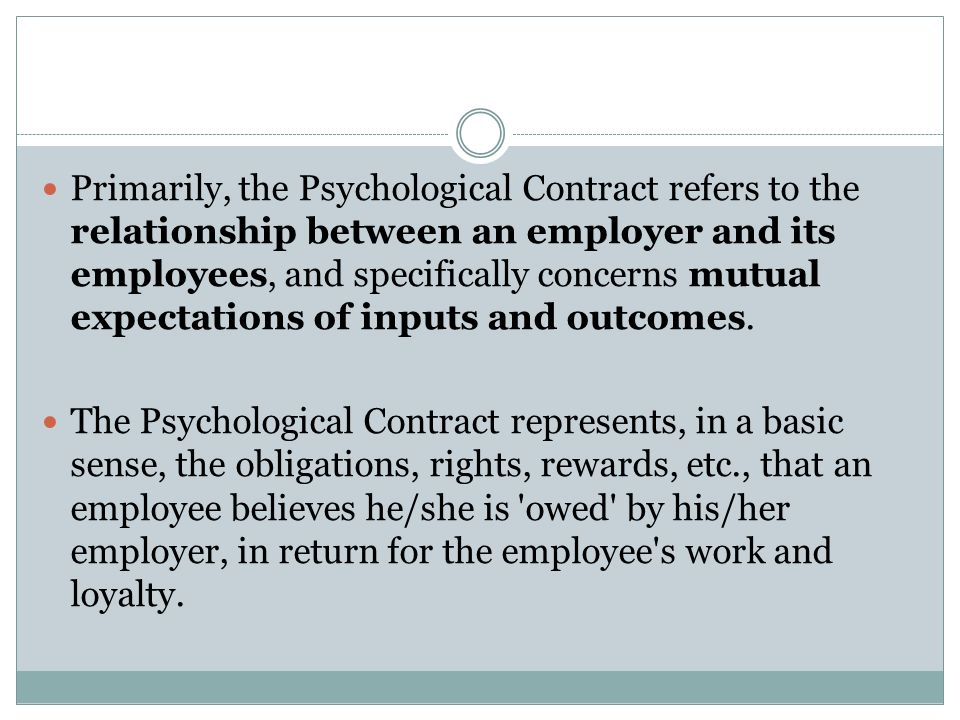 psychological contract and employment relationship