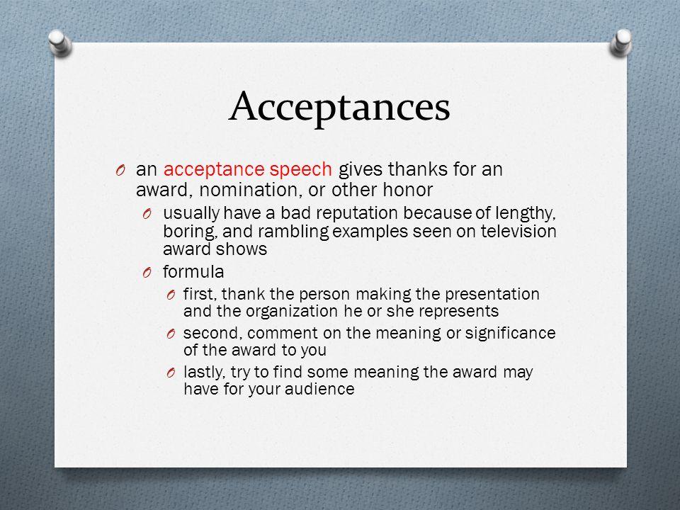 Public speaking chapter eighteen ppt video online download for Presenting an award speech template