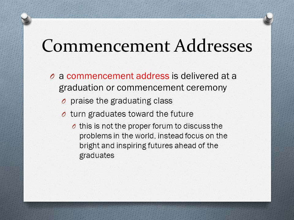 Commencement Addresses