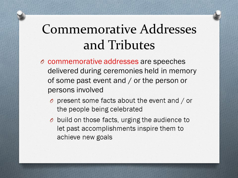 Commemorative Addresses and Tributes