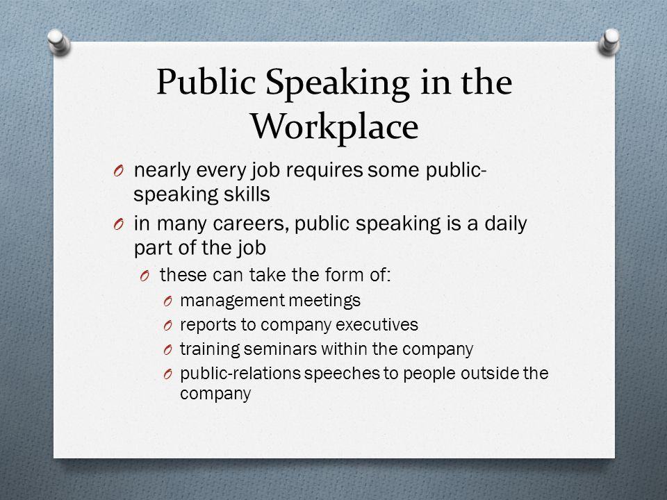 Public Speaking in the Workplace