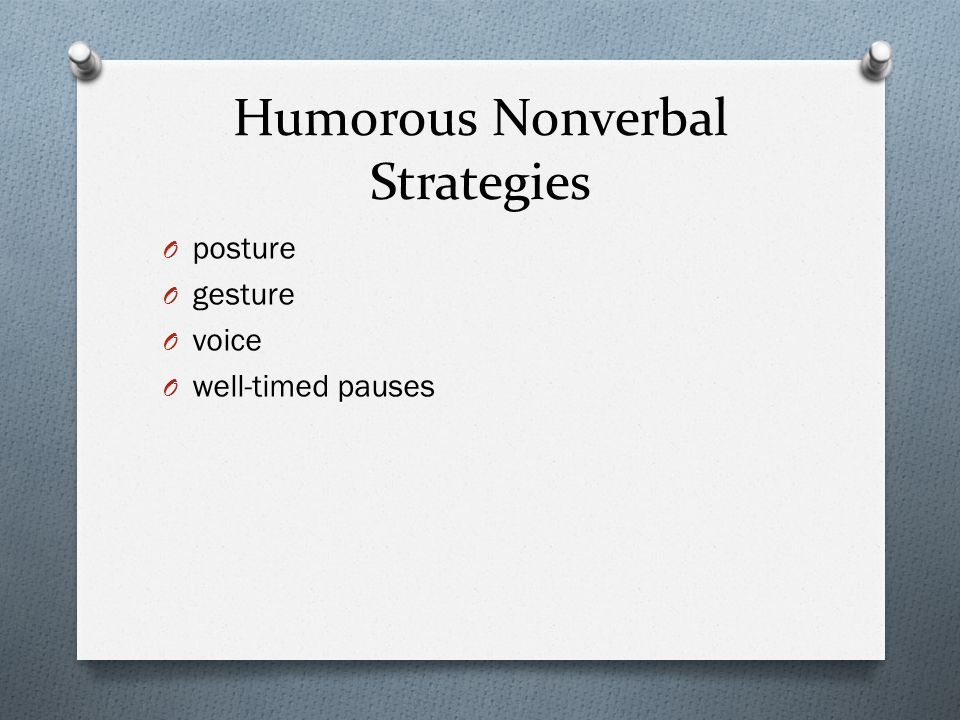 Humorous Nonverbal Strategies