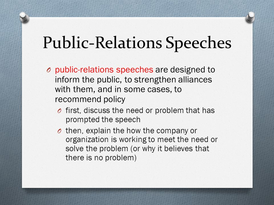 Public-Relations Speeches