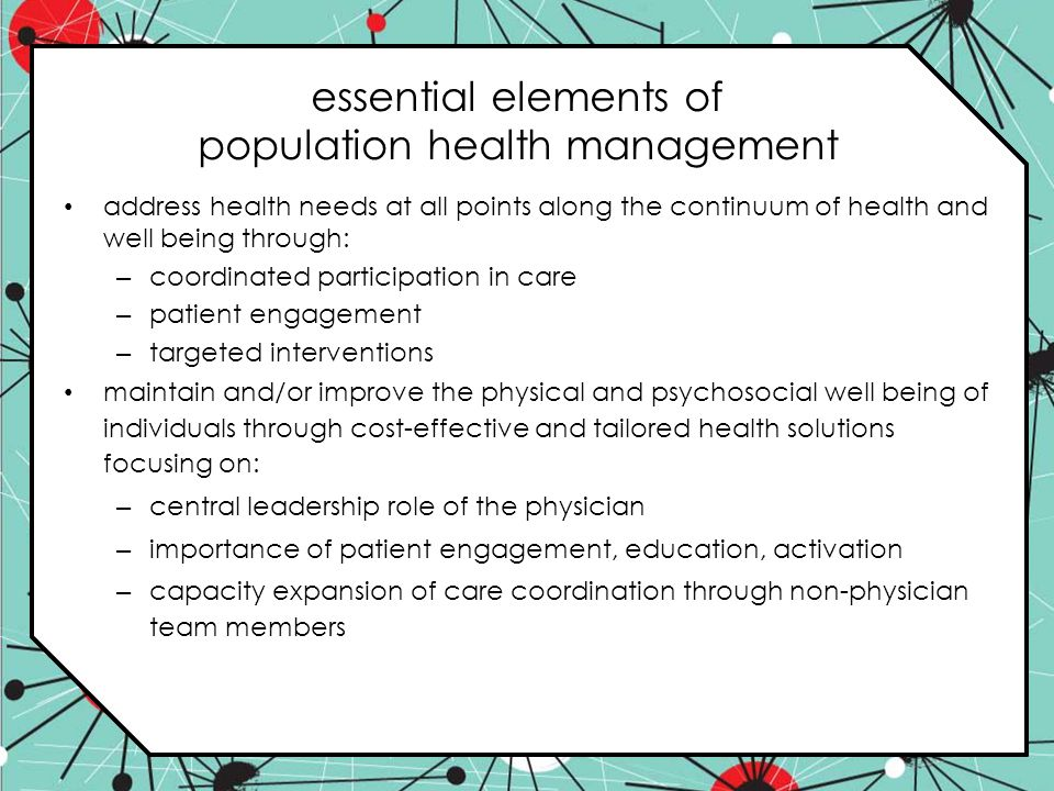 essential elements of population health management
