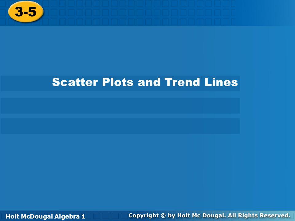 3 5 Scatter Plots And Trend Lines Holt Algebra 1 Ppt Video Online