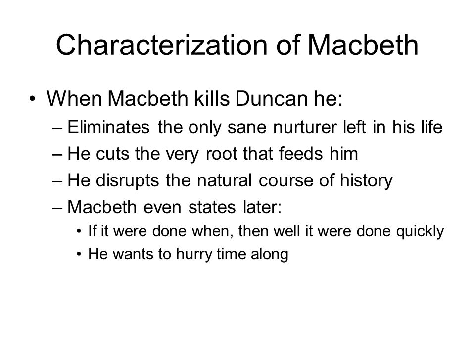 macbeth characterization Free essay: character analysis in the tragedy macbeth, written by william  shakespeare, many character traits are portrayed through the various characters.