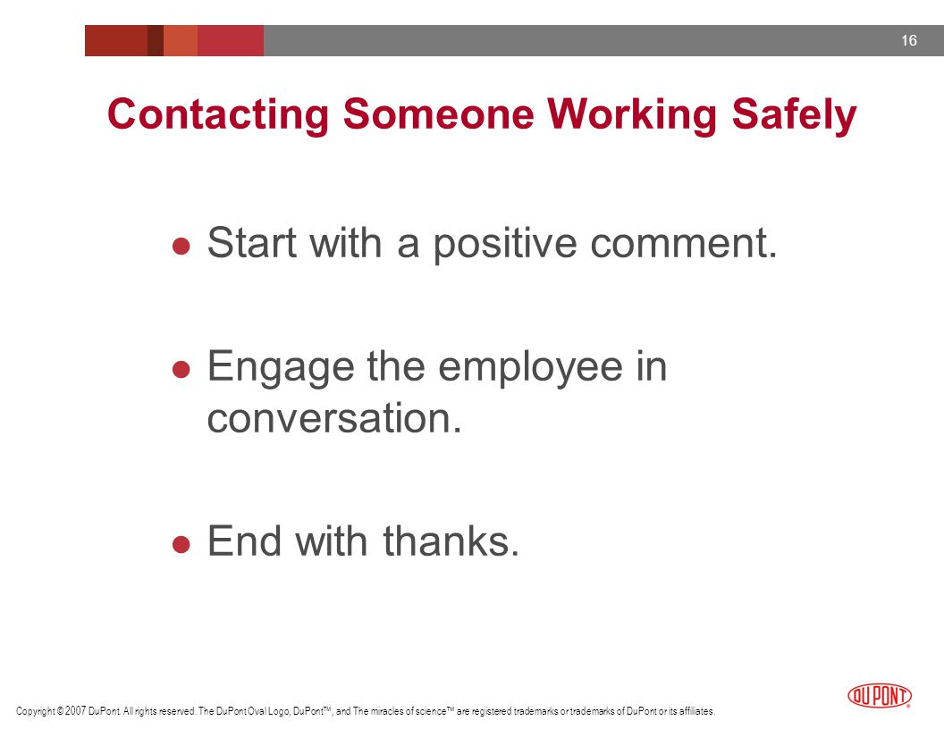 Contacting Someone Working Safely
