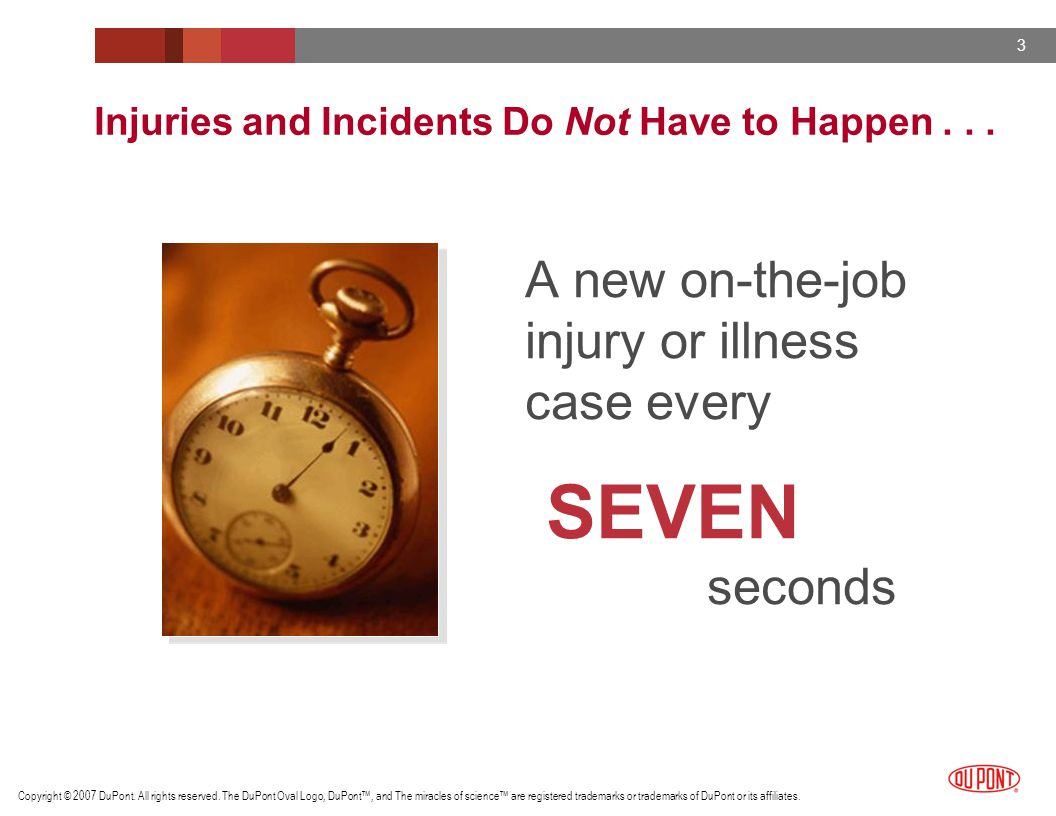 Injuries and Incidents Do Not Have to Happen . . .