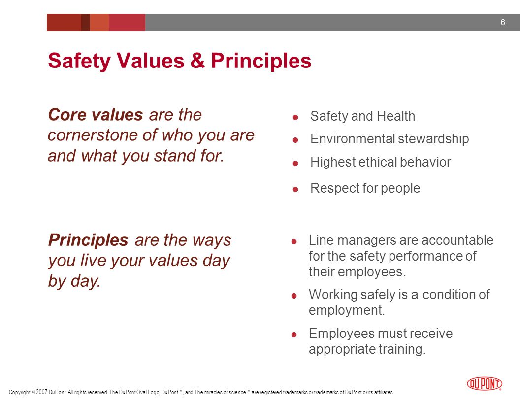 Safety Values & Principles