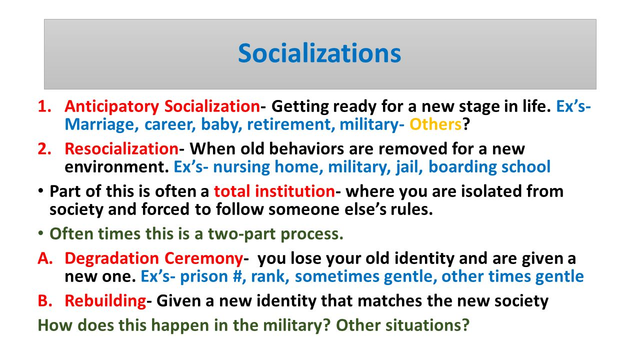 anticipitory socialization