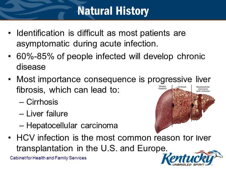 Natural History Identification is difficult as most patients are asymptomatic during acute infection.