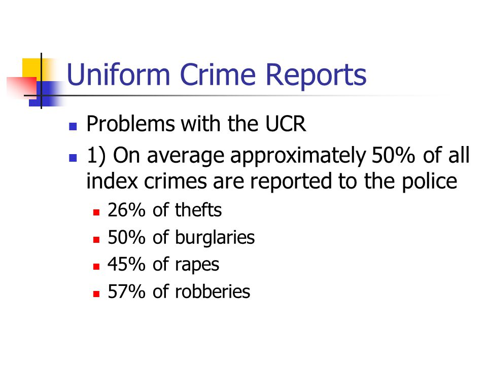 Uniform Crime Reports Problems with the UCR