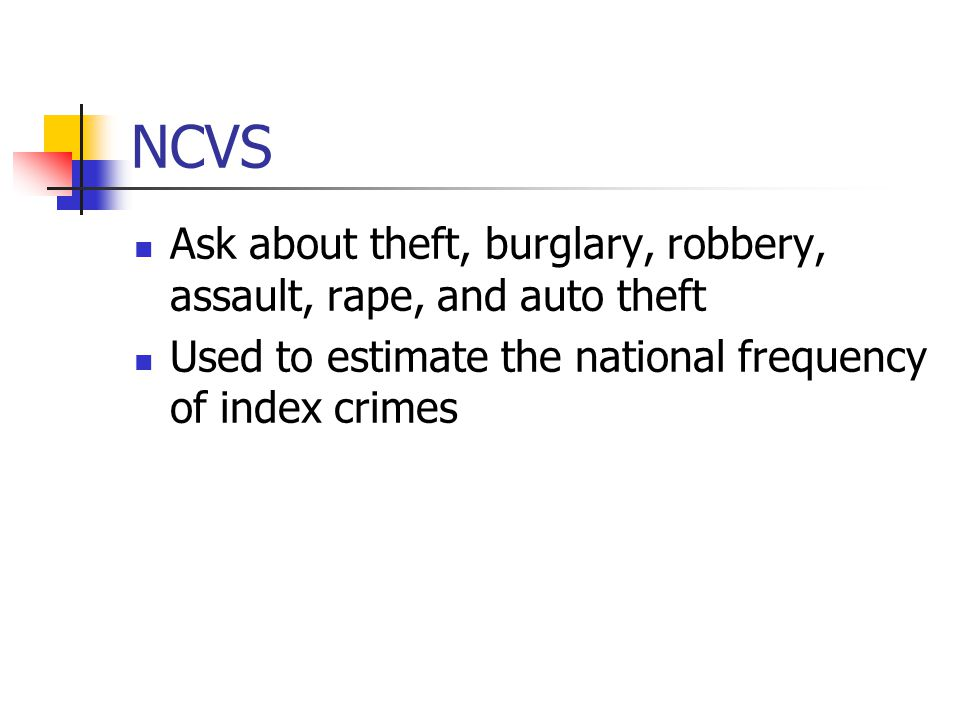 NCVS Ask about theft, burglary, robbery, assault, rape, and auto theft