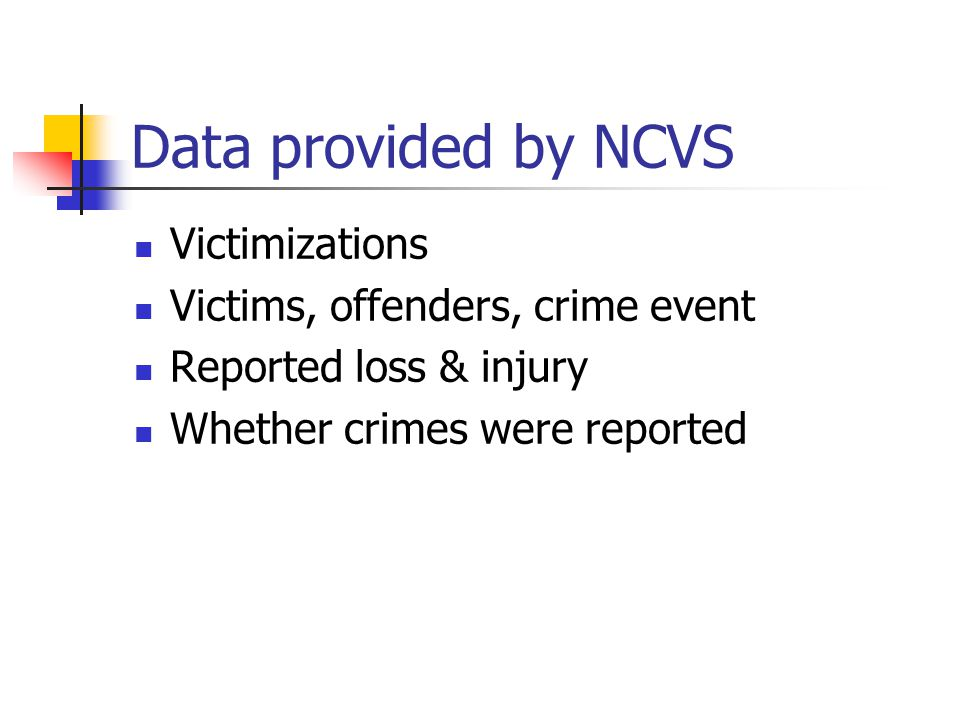 Data provided by NCVS Victimizations Victims, offenders, crime event